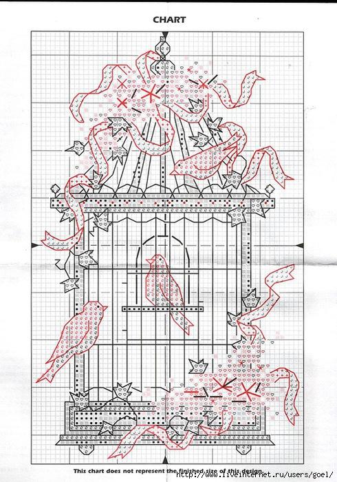 Птица в клетке схема вышивки 37