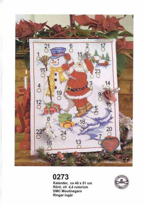 0273 Santa And Snowman Calendar (494x700, 45Kb)