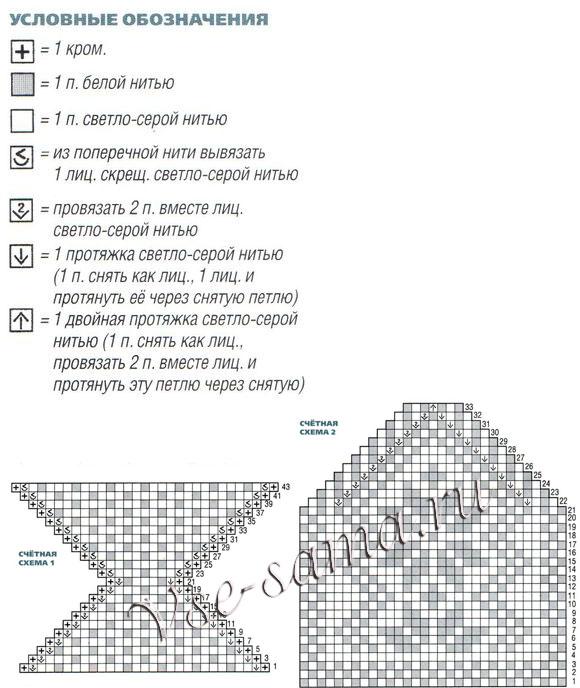 Схемы и описания вязания тапочек с узорами 290