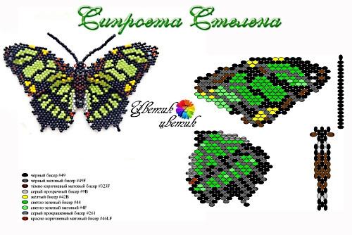 Схема бабочки от Марины Таран (Цветик-7цветик). суббота 23 июля 2011 22:08.  АртБисер.