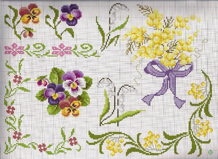 Вышивка крестиком бордюр из мелких цветочков 85