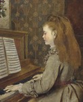 Превью d4113140xPortrait of a girl, seated half-length, in a grey dress, playing the piano (512x625, 66Kb)