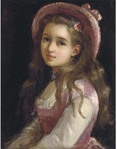 Превью Portrait of a young girl, halflength in a pink dress and hat (512x651, 51Kb)