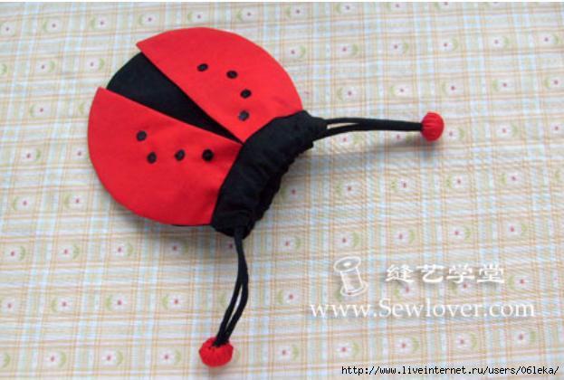 Сумка-мешочек божья коровка. Bag ladybug.