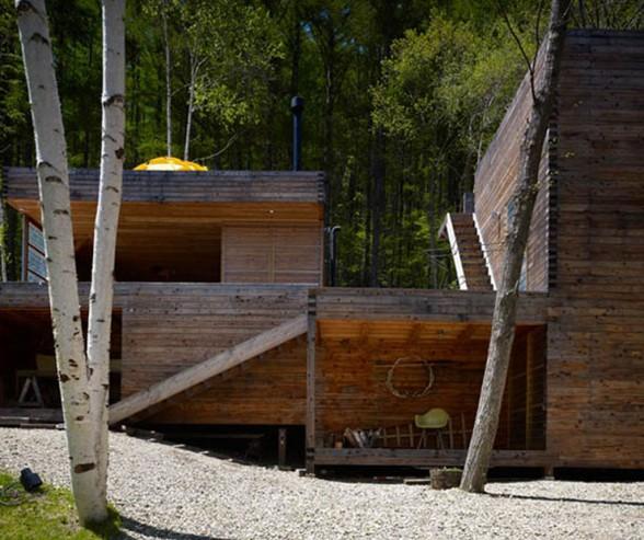 Современное строительство деревянных домов из бруса Деревяный коттедж в горах