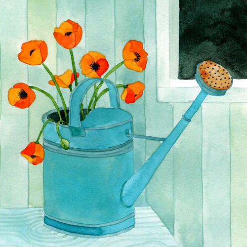 Watering can with poppies (500x500, 322Kb)