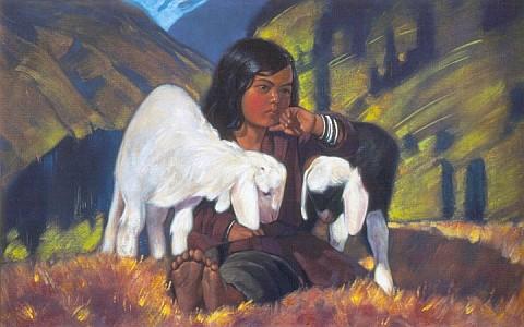 Все картины.  Девочка с двумя овцами.
