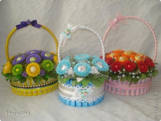 Корзинка с конфетами и цветами своими руками