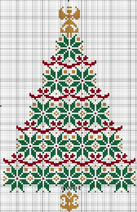 орнаментальная елка схема (452x700, 300Kb)