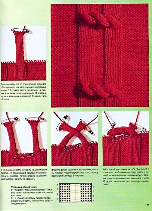 Узелки узор для вязания спицами схемы