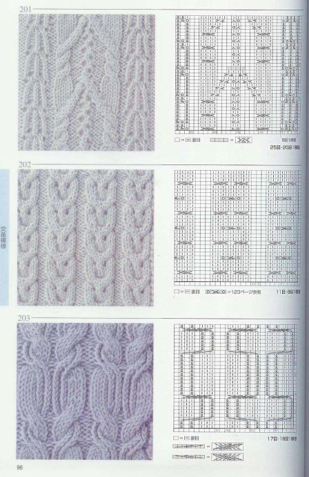 Узоры и схемы вязания спицами.  Для просмотра узоров и схем кликните.