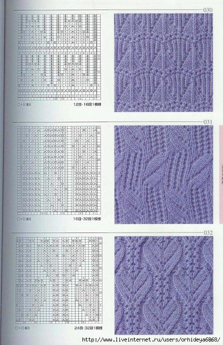 Большая японская книга с узорами по вязанию спицами, с примерами одежды и понятными схемами.