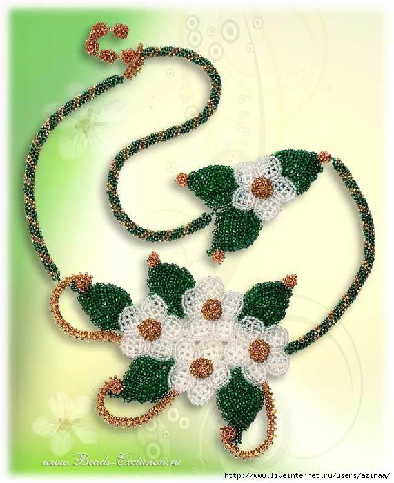 Beads Exclusion, Ирина Белинская, Эксклюзивные украшения из бисера, Колье Жасмин.