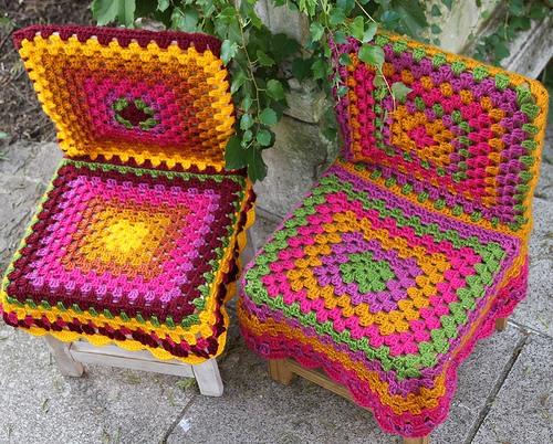 схемы вязаных чехлов на кресло