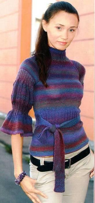 Как связать спицами рукав свитера 3