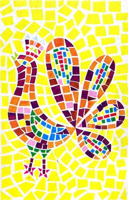 Оригинально будет смотреться мозаичная работа, выполненная из объемных элементов.  Например, сделанных из фантиков...