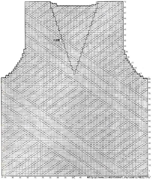 shema-vyazaniya-zhenskogo-zhileta-spicami (593x700, 376Kb)