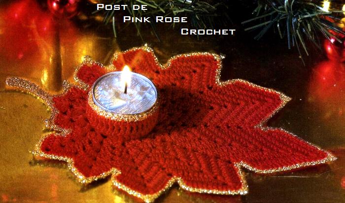 Folha Vermelha PVelas Croche de Natal ..PRoseCrochet (700x412, 611Kb)