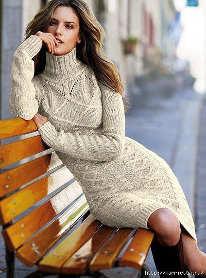 Платье вязаное спицами с описанием.  Вязаные теплые платья очень модны.