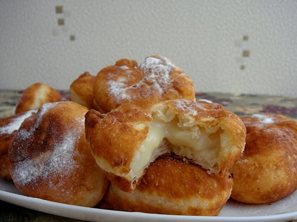 Пончики с кремом рецепт пошаговый рецепт с фото