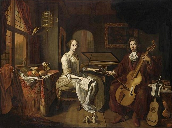 Amsterdam School (17th century) - A Lady And A Gentleman, ca 1680 (700x519, 271Kb)