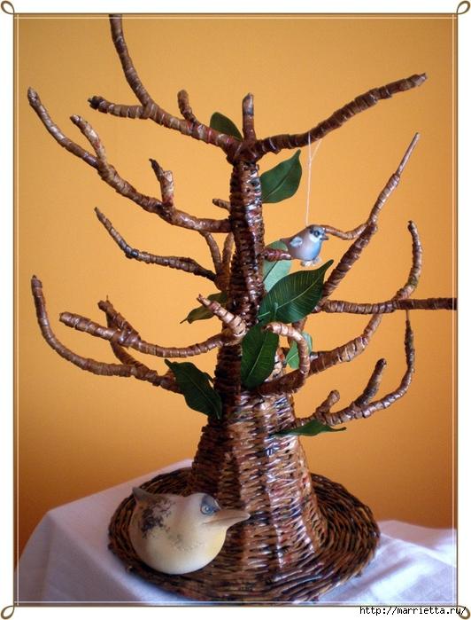 Дерево из газетных трубочек своими руками