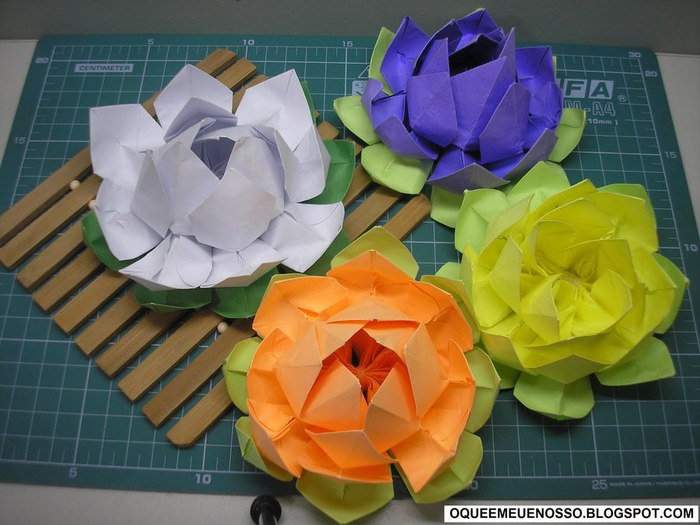Оригами цветок лотос из бумаги.  Схема и видео.