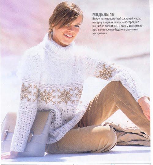 Как связать красивый теплый свитер спицами.  Описание, выкройка и схема. santa3.