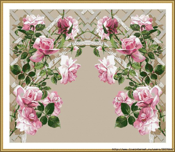 Riolis 898_Rozalena variant.  Как-то половина арки с розами не сильно нравилось.Попробовала целиком.