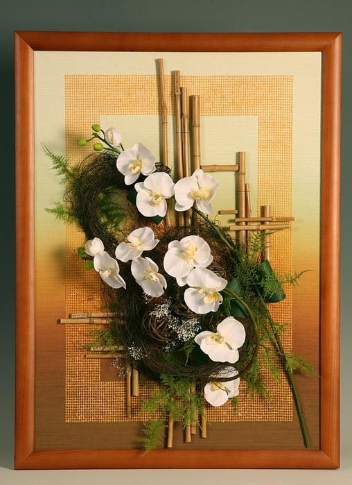 Картины из искусственных цветов своими руками мастер класс 70