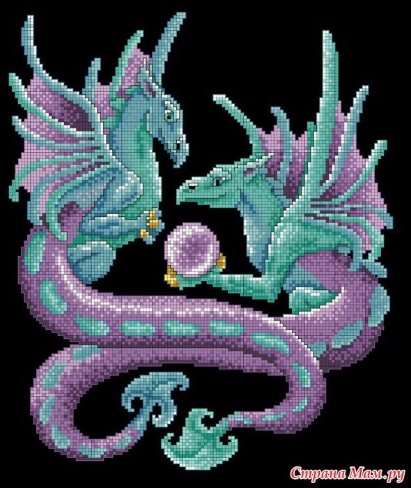 """Схема вышивки  """"Мистические драконы """": комментарии."""