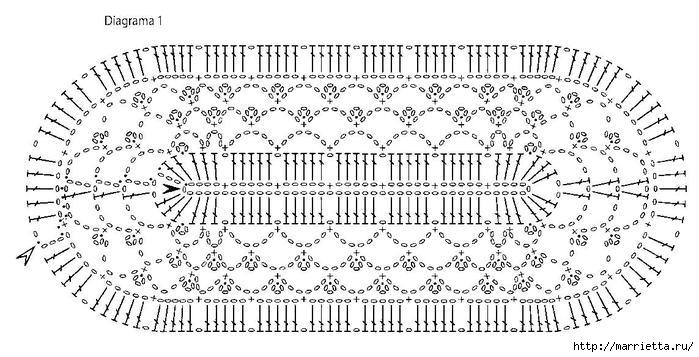 Вязание крючком прямоугольные салфетки со схемами