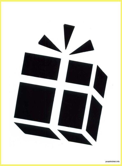 Трафареты для украшения окна на новый гПодарок