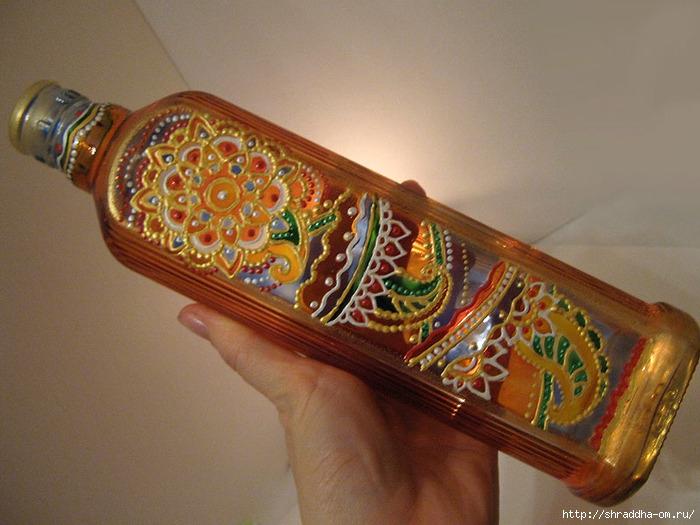 декоративная бутылка, роспись витражными красками, автор Shraddha, 1 (700x525, 249Kb)