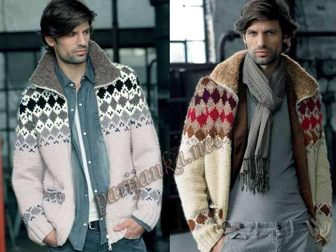 Вязание спицами для мужчин курток спицами