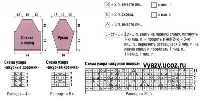Схемы узоров для вязания спицами реглан сверху