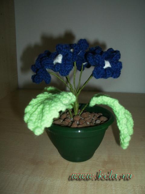цветы в горшочке крючком схемы.