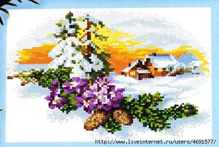 Часть 1. Часть 2. Часть 8. Часть 9. Вышиваем елочку.  Зимние пейзажи.