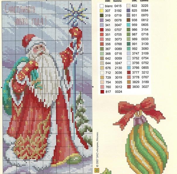 Схема дед мороз вышивка крестом схемы