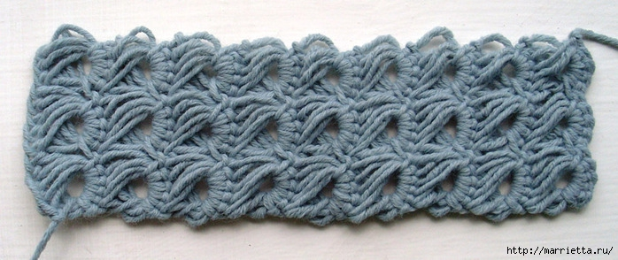 You could add another row or two and simply slip stitch the work into a ring for a loose bracelet but I preferred it...