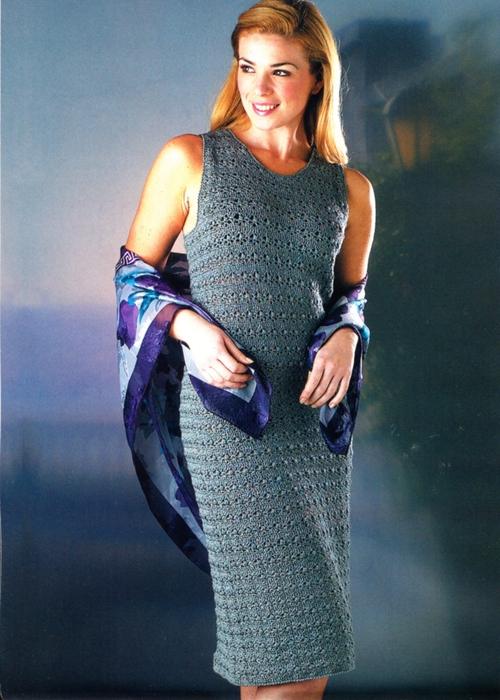 вязаное вечернее платье крючком.