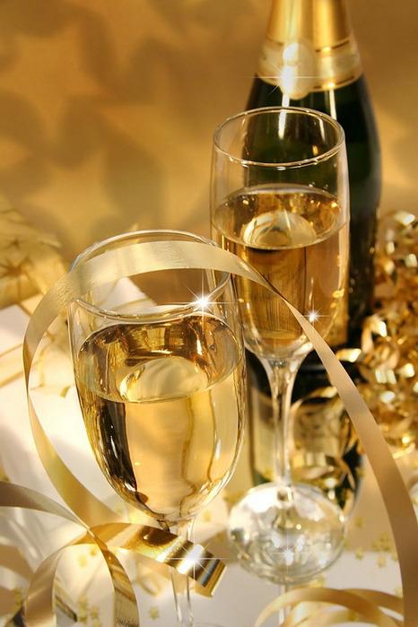 Бокал с шампанским открытка 337