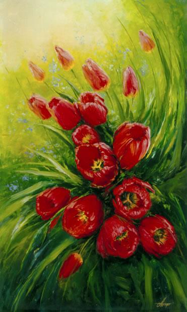 Свободная роспись по шелку Батик Шарф с тюльпанами