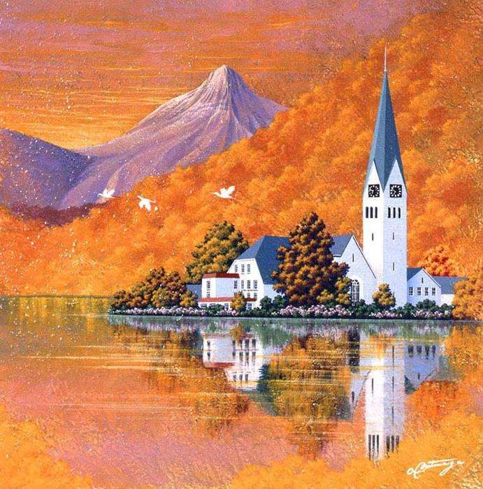 Церковь на берегу озера (691x700, 104Kb)