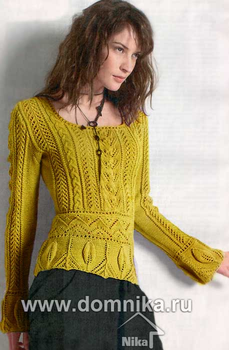 Lt b gt пуловер lt b gt с листочками и косами lt b gt вязание спицами lt b gt самое интересное lt b gt lt b gt