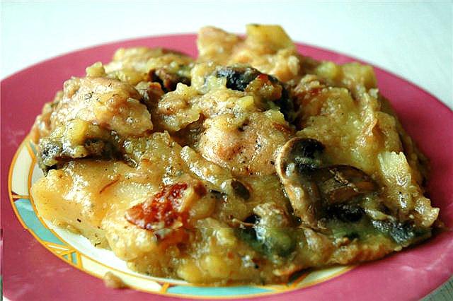 Рецепты мясо с шампиньонами и картошкой в духовке