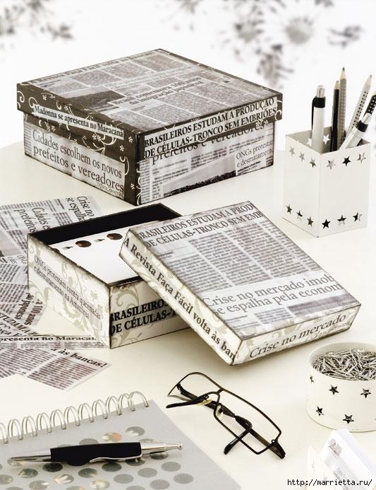 Коробку из-под обуви можно обклеить газетами или тканью.  Декорирование обувных коробок тканью и газетами.