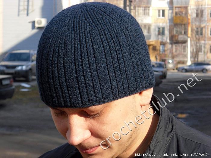 схема вязания мужской шапки крючком.