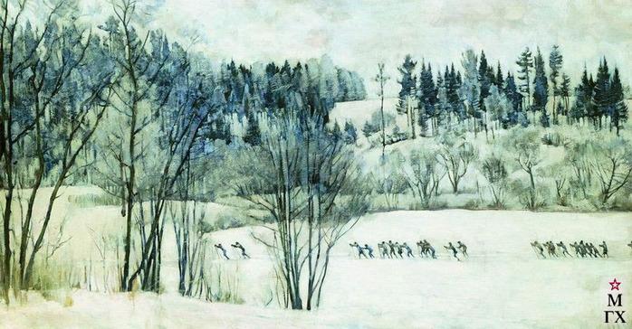 Юон. Лыжная экскурсия.1930 (700x364, 126Kb)