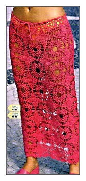 Длинная юбка крючком.  Схема вязания крючком юбки.